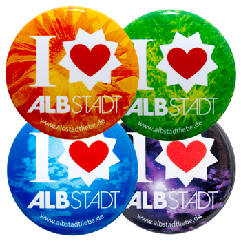 "Magnete Varianten ""I love Albstadt"" in den Farben orange, grün, blau, lila"