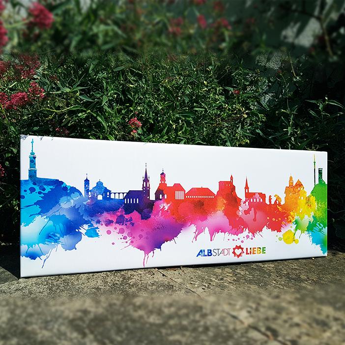 bunte Albstädter Skyline auf Leinwand im Ebinger Rosengarten