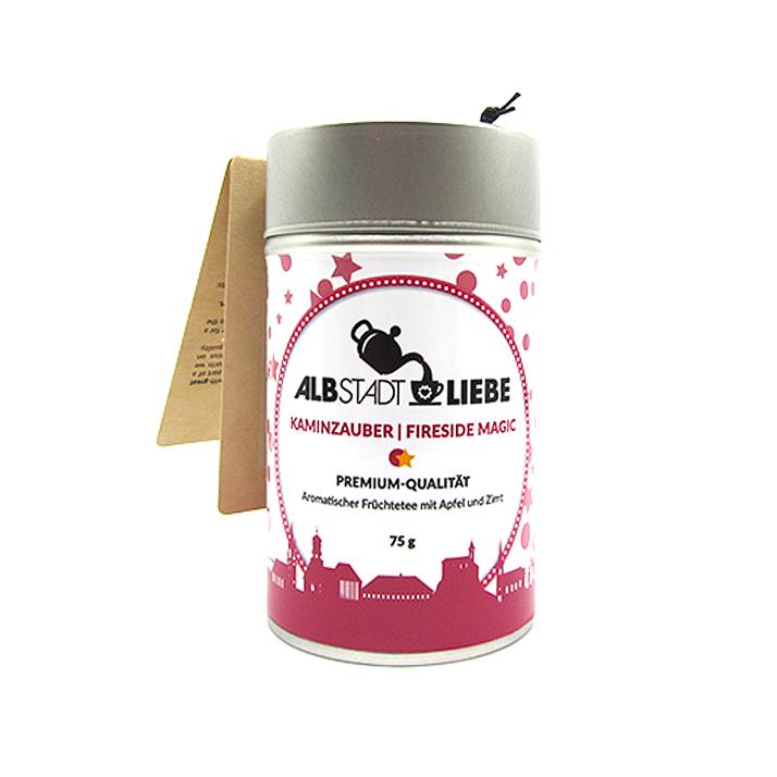 """Früchtetee """"Kaminzauber"""" / """"Fireside Magic"""" 75 Gramm. Premium-Qualität. Aromatischer Früchtetee mit Apfel und Zimt."""
