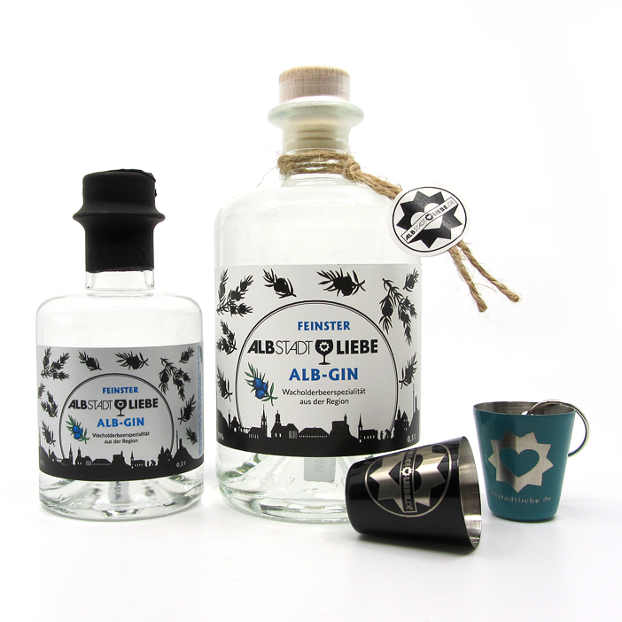 Alb-Gin 0,2 + 0,5 Liter und Schnapsbecherle