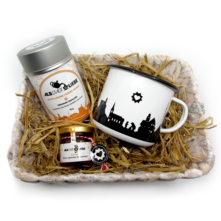 "Geschenkset ""Dreamteam"": Tee, Emaillebecher, Honig"