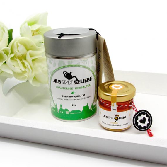 """Geschenkset """"Heimatliebe"""": Tee, Honig"""