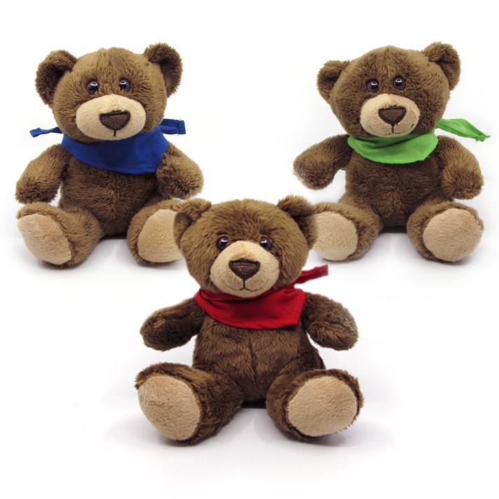 """Wacholderbärle """"Bruno"""" mit blauem, grünem und rotem Halstuch"""